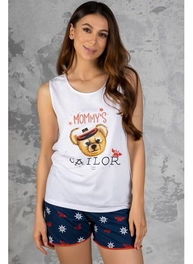 Katia & Bony Marine Teddy Bear Baskılı Kadın şortlu Pijama Takımı - Beyaz Beyaz